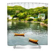 Small Yellow Boats Shower Curtain