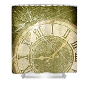Smashed Clock Face Shower Curtain