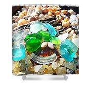 Smiley Face Beach Seaglass Blue Green Art Prints Shower Curtain