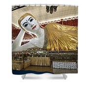 Smiling Reclining Buddha In Yangon Myanmar Shower Curtain