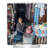 Smiling Vendor Shower Curtain