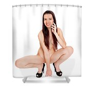 Smillung Nude Brunette Shower Curtain