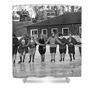 Smith Girls Skate On Paradise Pond Shower Curtain