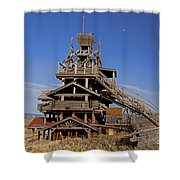 Smith Mansion Panoramic With Moon  55x66 Shower Curtain