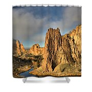 Smith Rock Foggy Morning Shower Curtain