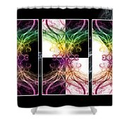 Smoke Art Triptych Shower Curtain