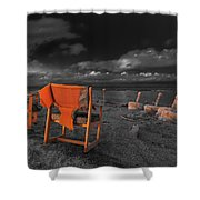 Smoke Break In The Ruins Black And White Shower Curtain