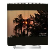 Smoke Covered Sky Sunset Thru The Palm Trees Shower Curtain