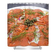 Smoked Salmon Pizza Closeup Shower Curtain