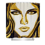 Smokey Eyes Woman Portrait Shower Curtain by Patricia Awapara