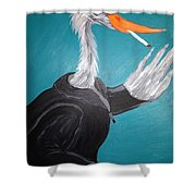 Smoking Egret In Leather Jacket Shower Curtain