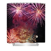Smoky - Fireworks And Moon Shower Curtain