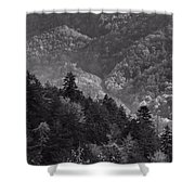 Smoky Mountain View Black And White Shower Curtain