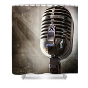 Smoky Vintage Microphone Shower Curtain