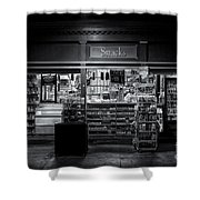 Snack Shop Bw Shower Curtain
