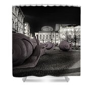 Snails Attack Milan Bw Shower Curtain