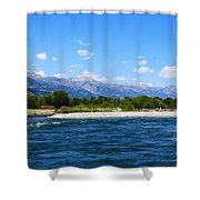 Snake And Tetons Shower Curtain
