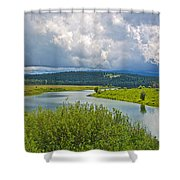 Snake River By Oxbow Bend In Grand Teton National Park-wyoming Shower Curtain