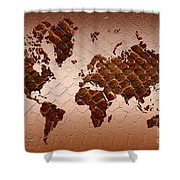 Snake Skin World Map Shower Curtain
