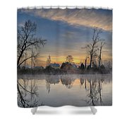 Dawn On The Snohomish Shower Curtain