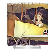 Snoopy In His Biplane Shower Curtain