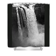 Snoqualmie Falls - Black And White Shower Curtain