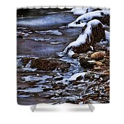 Snow And Ice Water And Rock Shower Curtain by Dale Kincaid