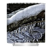 Snow And Icicles Merry Christmas Card Shower Curtain