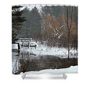Snow And Stream Shower Curtain