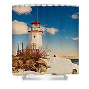 Snow At Cheboygan Crib Shower Curtain