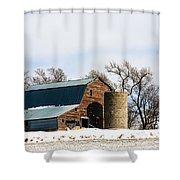 Snow Barn Shower Curtain