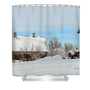 Snow Barns Shower Curtain