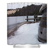 Snow Barrel Shower Curtain
