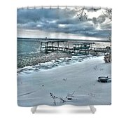 Snow Beach Shower Curtain