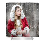 Snow Beauty In Red Shower Curtain