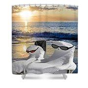 Snow Bird Vacation Shower Curtain