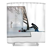 Snow Blower Shower Curtain
