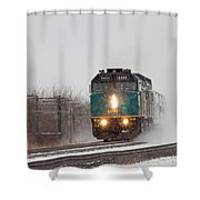 Passenger Train Blowing Snow On Curve Shower Curtain