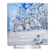 Snow Bunny Shower Curtain
