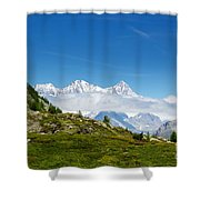 Snow-capped Mountain And Cloud Shower Curtain