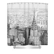 Snow - Chrysler Building And New York City Skyline Shower Curtain