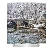 Snow Coming Down On The Wissahickon Creek Shower Curtain