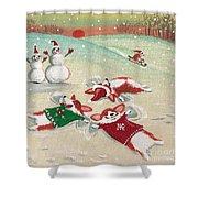 Snow Corgi Shower Curtain