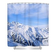 Snow Covered Alps, Schonjoch, Tirol Shower Curtain