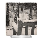 Snow Covered Benches Shower Curtain