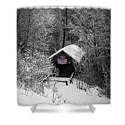 Snow Covered Covered Bridge  Shower Curtain