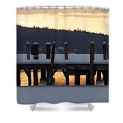 Snow Covered Docks Shower Curtain