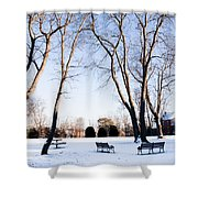 Snow Covered Green Shower Curtain