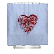 Snow-covered Heart Shower Curtain