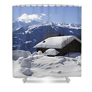Snow-covered House In The Mountains In Winter Shower Curtain by Matthias Hauser